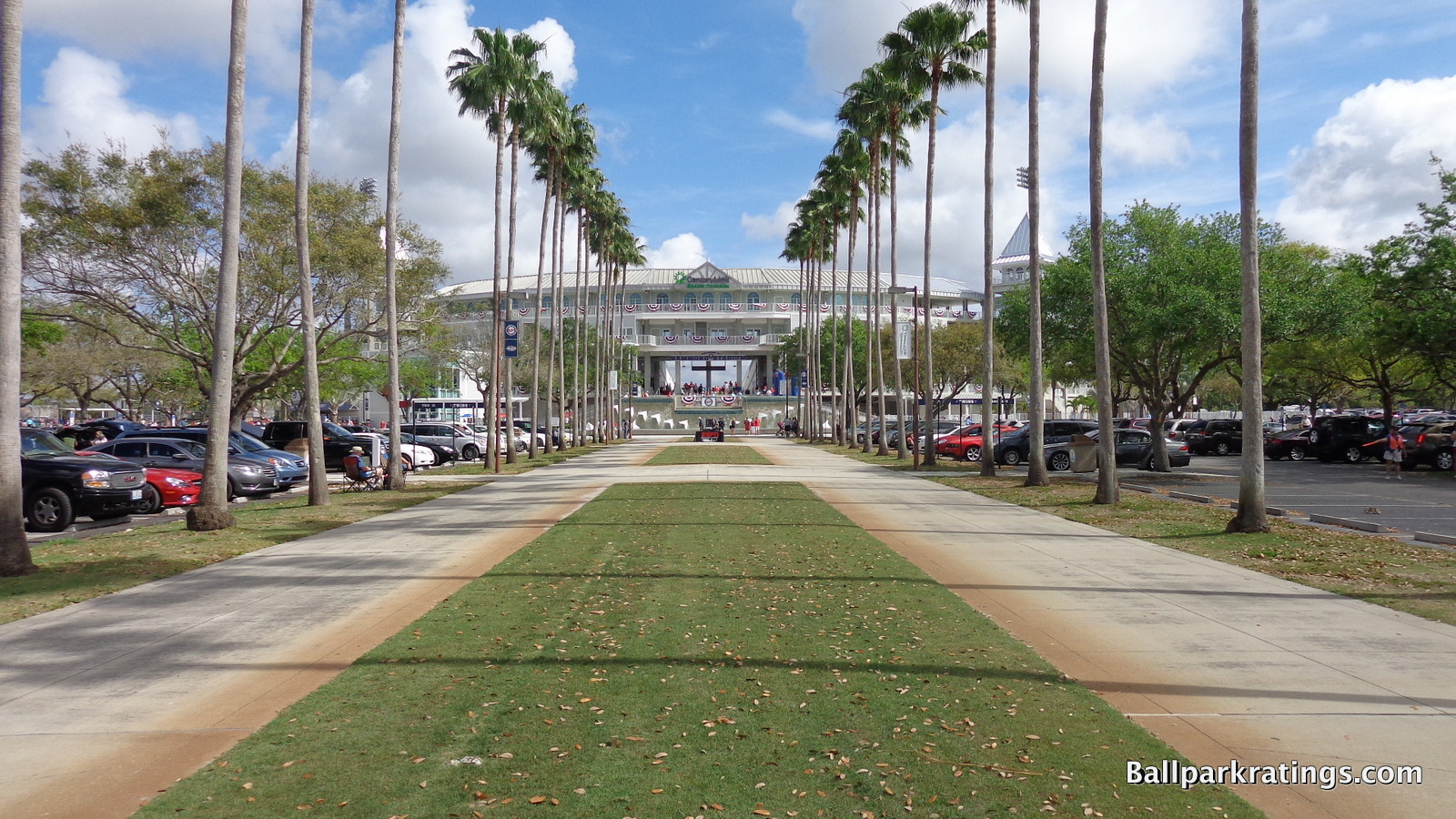 Hammond Stadium exterior palm lined fountain