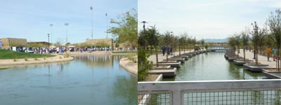 Ballpark or resort? Landscaping scene outside Camelback Ranch in Glendale