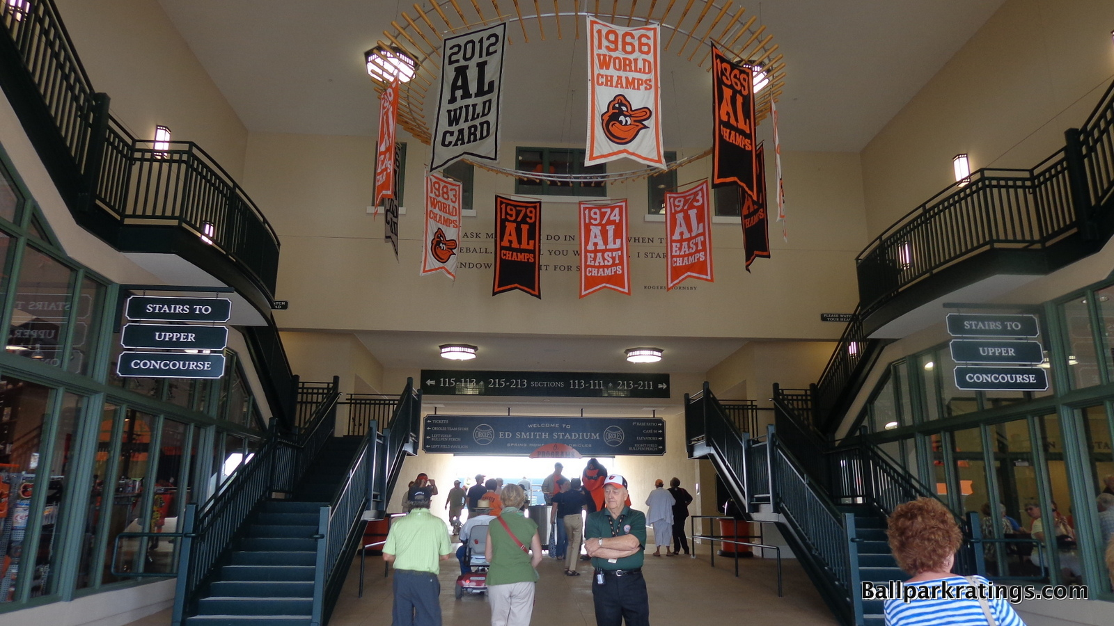 Ed Smith Stadium bat chandelier with pennant banners.